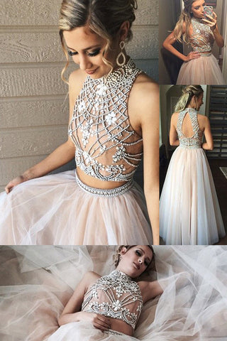 simidress Fashion High Neck Prom Dresses,Two Piece Prom Gowns,A line Tulle Prom Dress with Beading,SIM630