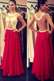 Red Prom Dresses,A-line Prom Dresses,Chiffon Formal Gowns,Long Prom Dresses,SIM621