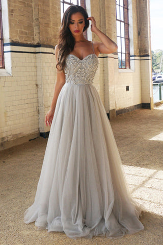 A-Line Spaghetti Straps Floor-Length Prom Dress with Beading