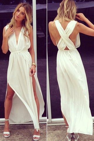 White Prom Dresses,Deep V Neck Sleeveless Chiffon Prom Gowns,Side Slit Ankle Length Evening Gowns,SIM622