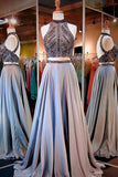 High Neck Open Back Prom Dresses,Long Prom Dress with Beading,Two Piece Prom Gowns,SIM624