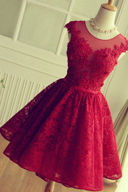 Red Short Lace Homecoming Dresses, Knee-length Prom Dresses, SH78