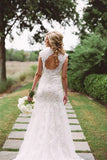 Elegant Lace Wedding Dresses with Appliques, Wedding Gowns With Zipper Button,SW13
