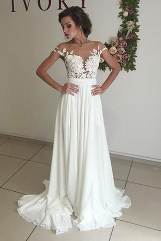 Elegant V-neck Cap Sleeves Wedding Dresses with Sweep Train and Appliques,SW16