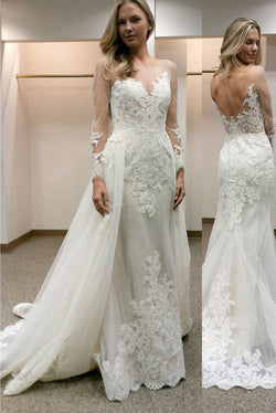 Lace Long Sleeves Sheath Wedding Dresses with Detachable Train,Wedding Gown,SW11
