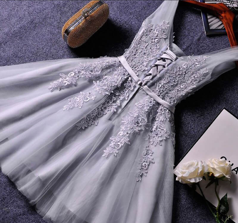 Grey Lace Appliques Short Bridesmaid Dress,Prom Dress,Lace Appliqued Tulle Homecoming Dress,SH60 | homecoming dresses | short prom dresses | homecoming dresses pink | blush homecoming dresses | lace homecoming dresses | plus size homecoming dresses | cheap homecoming dresses | homecoming dresses online | simidress.com