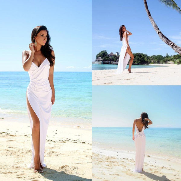 Sheer Back Beach Wedding Dresses Side Slit  Wedding Gown Simple Sexy Dresses SW32