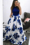 Fashion Jewel Blue A-Line Floral Long Prom Dress Formal Dress with Pockets, SP418