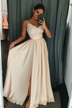 Pearl Pink Elastic Satin A-Line Spaghetti Straps Side Slit Prom Dress with Appliques,M226
