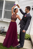 Fabulous 2-pieces Halter Maroon Backless Prom Dress,Evening Prom Gowns With Beading,SVD409