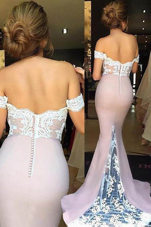 Decent Off Shoulder Sweep Train Bridesmaid Dress with Lace,Mermaid Prom Dress,SVD411