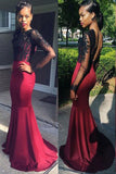 Decent Burgundy Backless Prom Dress,Long Mermaid Prom Dress with Black Lace,SVD415