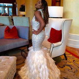 Glittering Prom Dress with Feather,Backless Prom Party Dresses,Beaded Prom Dresses,SVD427