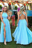 2017 Charming Baby Blue Prom Dresses,Halter Split Prom Dress with Lace,SVD428