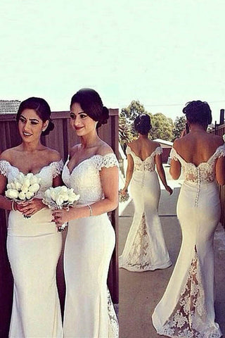 Elegant White Floor Length Off Shoulder Mermaid Lace Chiffon Bridesmaid Dresses,SVD454