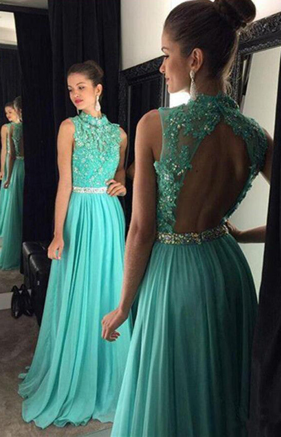 Fabulous High Neck Backless Long Turquoise Prom Dress with  Appliques and Beading,SVD435