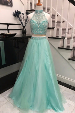 Elegant 2 Pieces Sky Blue Backless Prom Dress,Halter Prom Dresses with Beading,SVD436