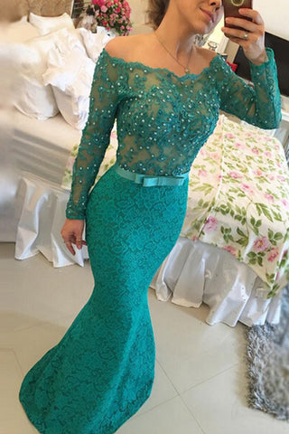 a427f6edd2ba Decent Floor-Length Lace Off Shoulder Long Sleeves Turquoise Prom Dress  with Pearls