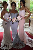 Gorgeous Long Bridesmaid Dresses with Sweep Train,Spaghetti Mermaid Lace Prom Dress,SVD451