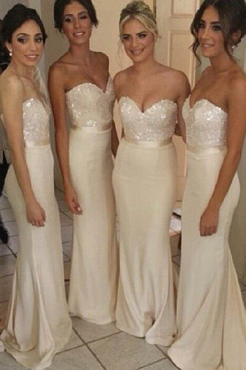 Elegant White Long Bridesmaid Dress,Wedding Party Gowns,Mermaid Sweetheart Bridesmaid Dress,SVD452