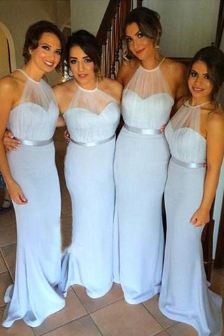 Gorgeous 2017 Sky Blue Halter Long Bridesmaid Dresses with Sweep Train,SVD456