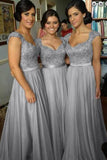 Chiffon Long Bridesmaid Dress with Beading,Simple A-line Cap Sleeve Bridesmaid Dress,SVD458