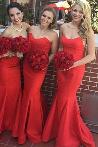 Sexy Satin Long Mermaid Wedding Guest Bridesmaid Dresses,Stunning Red Bridesmaid Dress,SVD462