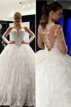 Affordable Fabulous Long Sleeve Scoop Neck Lace Ball Gowns,Long Wedding Dresses,SVD507
