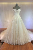 A-line Lace Wedding Dresses,Off Shoulder Sweetheart Zip Up Long Bridal Gowns,SVD511