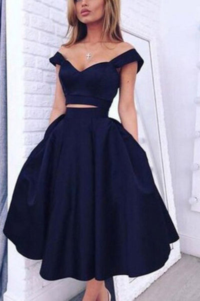 Elegant Two Pieces Off Shoulder Dark Navy Short Homecoming Party Dresses,SVD568