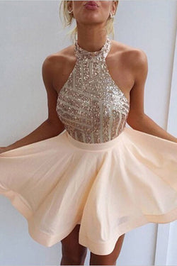 Elegant Open Back Halter Short Homecoming Dresses with Beading,SVD570