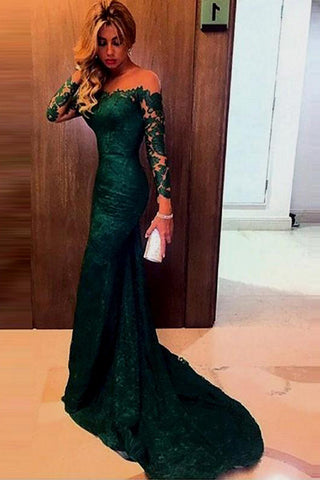 SIMIDRESS Elegant  Dark Green Off-shoulder Lace Mermaid Prom Dress with Long Sleeves, SVD326
