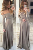 Decent Off Shoulder Evening Dresses,Long Chiffon Prom Dress,Simple Prom Dresses,SVD407