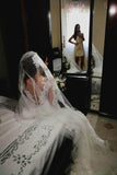 Simidress sell Mermaid Wedding Dress with Slit, Long Sleeve Lace See Through Wedding Dresses, SW173