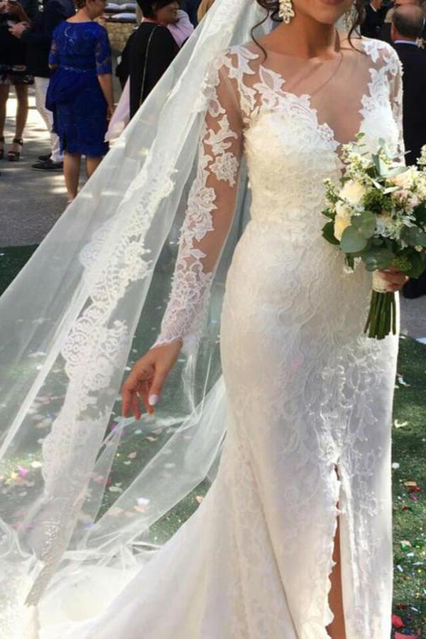 Mermaid Wedding Dress with Slit, Long Sleeve Lace See Through Wedding Dresses, SW173