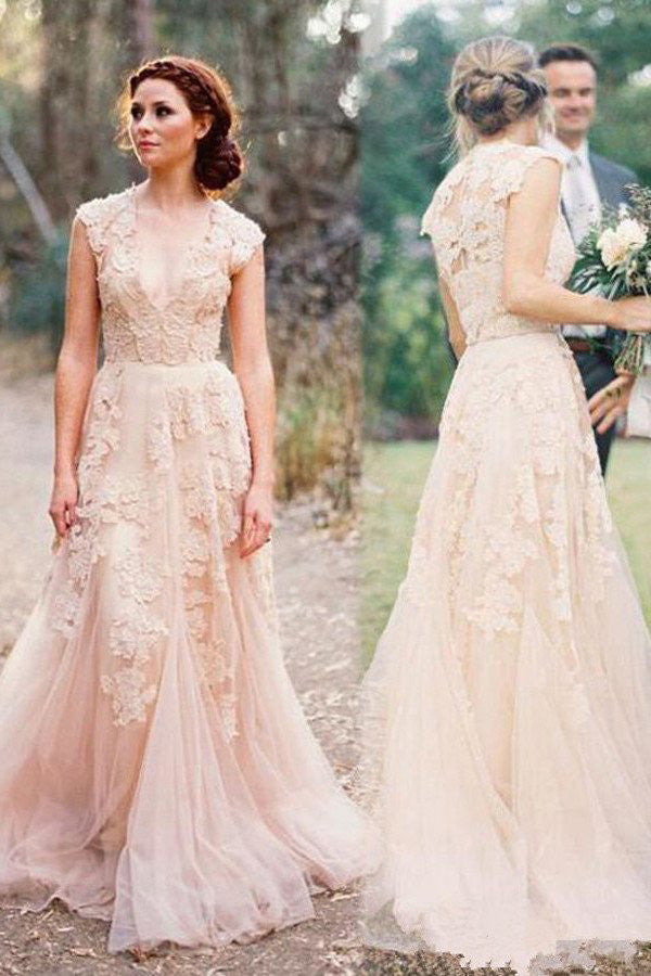 V-neck Sleeveless Floor-Length Wedding Dress with Lace  High Quality