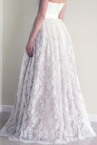 Lace A line Wedding Dresses,Sweetheart Neckline Strapless Wedding Gown,Cheap Bridal Dresses,SVD545