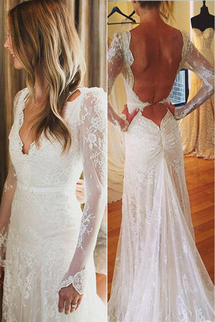 Open back v neck mermaid wedding dress lace white wedding for Wedding dress with sleeves and open back