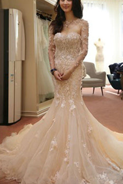 Pink Two Pieces Long Sleeve Glittering Mermaid Wedding Dresses with Appliques,SVD653
