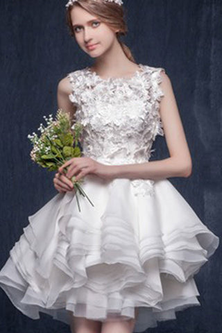 Sleeveless Short Organza Scoop Neck Wedding Party Dresses with Appliques,SVD655