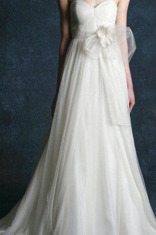Ivory A-line Chiffon Sweetheart Light Bridal Gowns,Simple Wedding Dress,SVD541