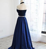 Dark Navy Halter Satin Prom Dress,2 Pieces Prom Dresses SD401