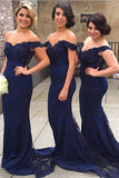 Mermaid Off Shoulder Lace Navy Blue Bridesmaid Dress,Satin Prom Dresses SD402