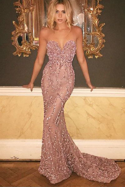 Pink Sweetheart Mermaid Sweep Train Backless Long Prom Dress with Sequins,M230