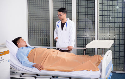 A patient discussing CBD use for surgery with his doctor.