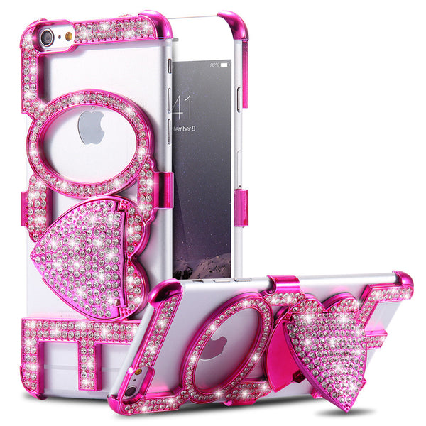 Luxury Rhinestone Kiss Love Stand Case For iPhone 6 - Store4You.co