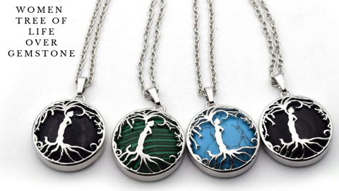 Woman Tree of Life Over Gemstone Collection