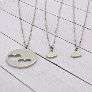 Mommy and Me - Double Heart Necklace Set