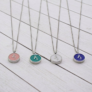 """Remember"" Dainty 2-Layer Necklace (Silver + Enamel Charm)"