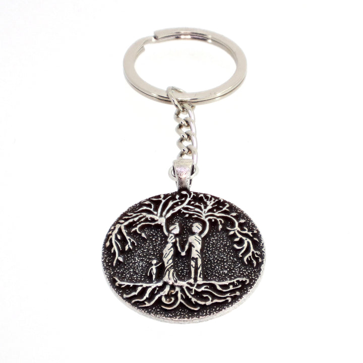 Parents & Daughter 'Tree of Life' Pendant Keychain [Silver]